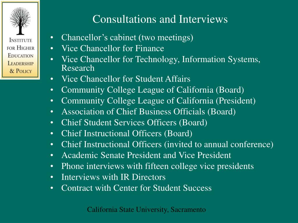 Consultations and Interviews