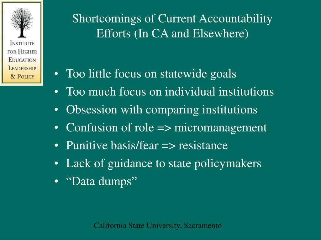 Shortcomings of Current Accountability