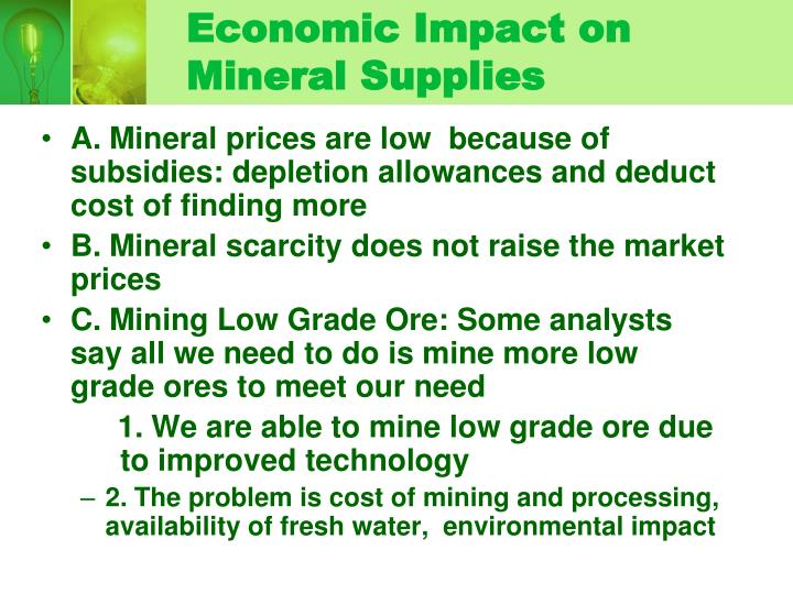 Economic Impact on Mineral Supplies