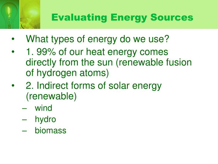 Evaluating Energy Sources