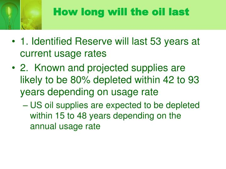 How long will the oil last