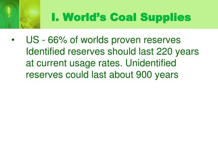 I. World's Coal Supplies