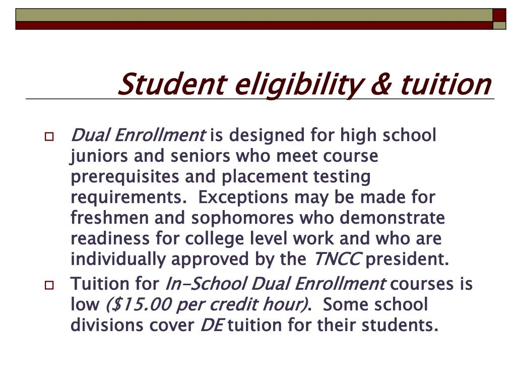 Student eligibility & tuition