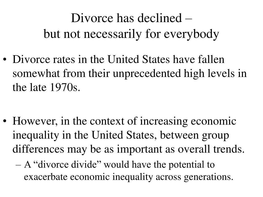 Divorce has declined –