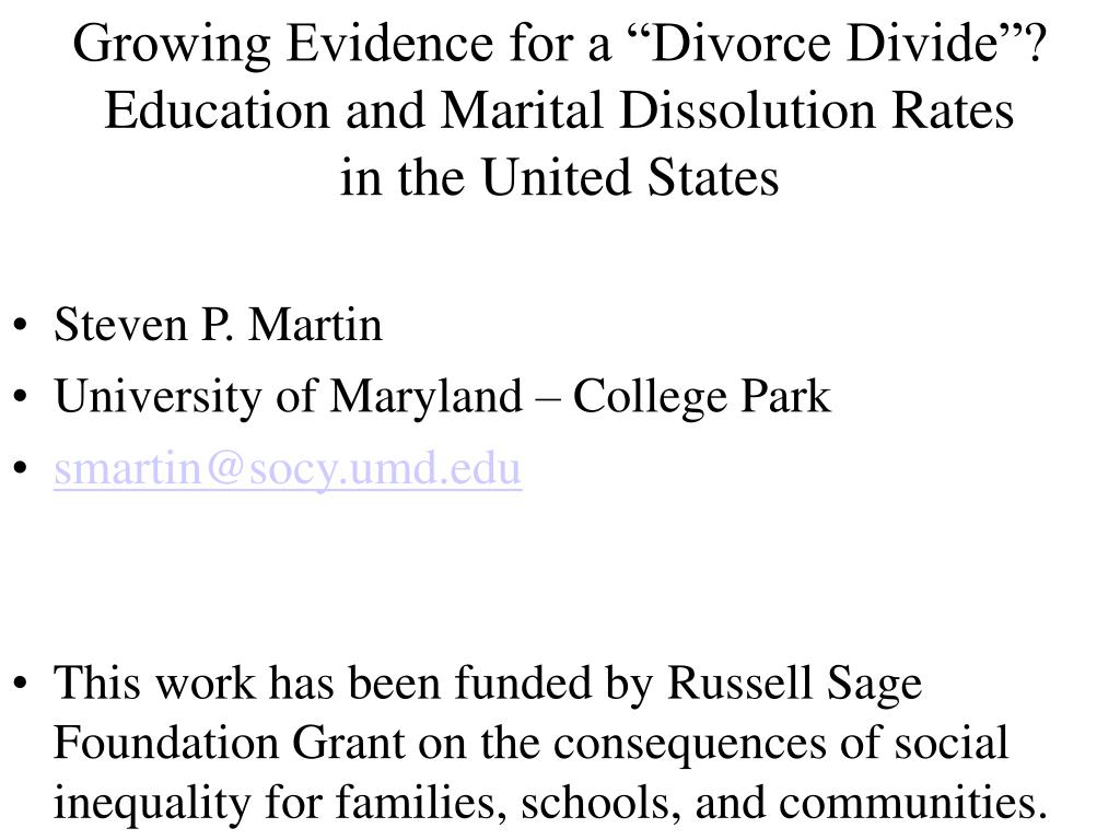 "Growing Evidence for a ""Divorce Divide""?"