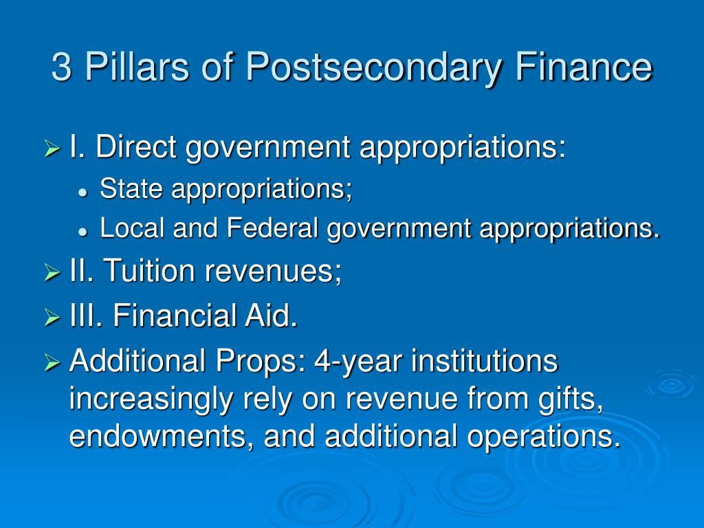 3 Pillars of Postsecondary Finance