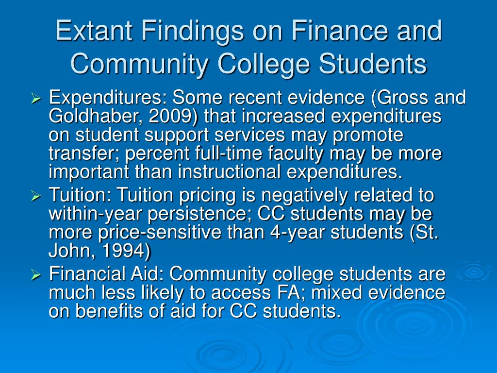 Extant Findings on Finance and Community College Students