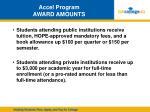 accel program award amounts