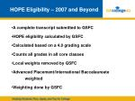 hope eligibility 2007 and beyond