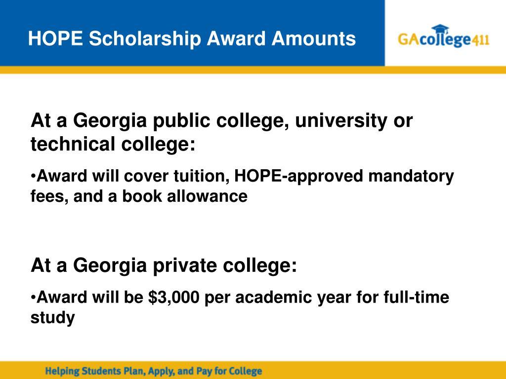 HOPE Scholarship Award Amounts