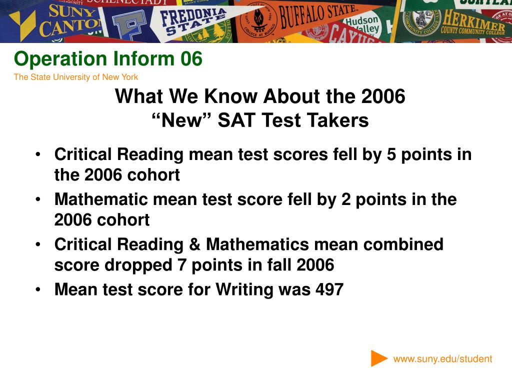 Critical Reading mean test scores fell by 5 points in the 2006 cohort