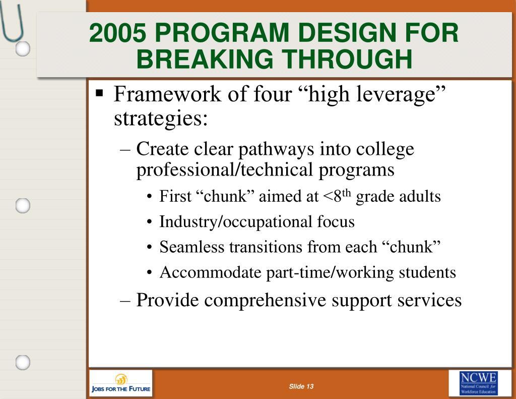 2005 PROGRAM DESIGN FOR BREAKING THROUGH