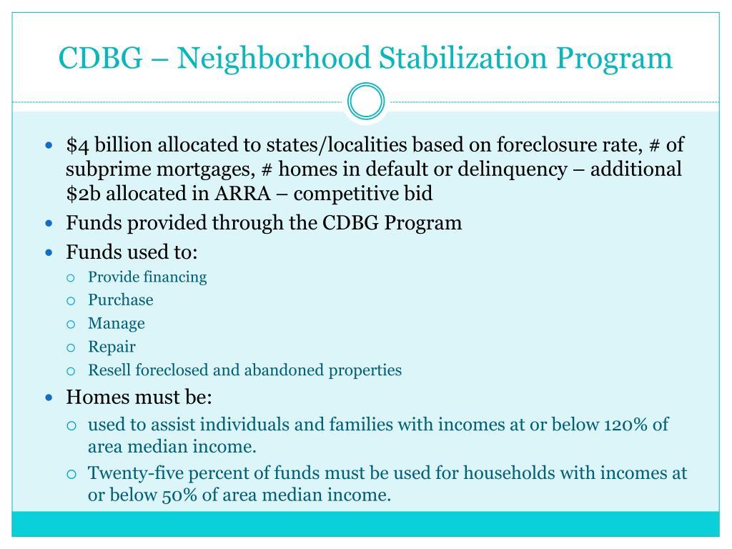 CDBG – Neighborhood Stabilization Program