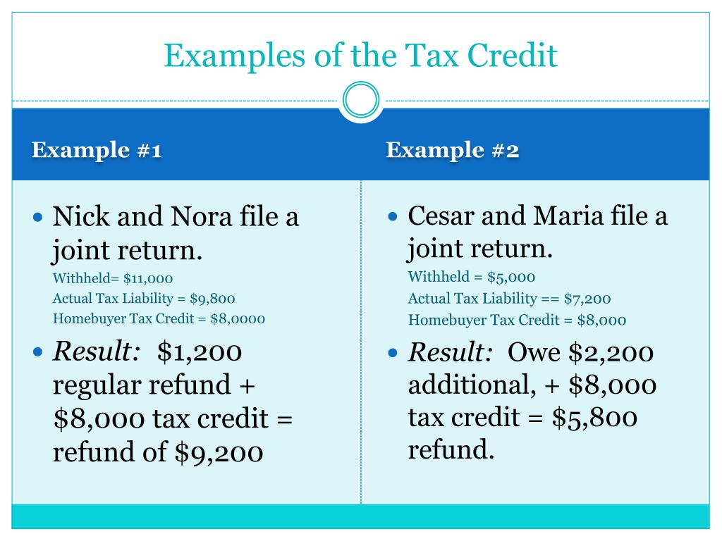 Examples of the Tax Credit