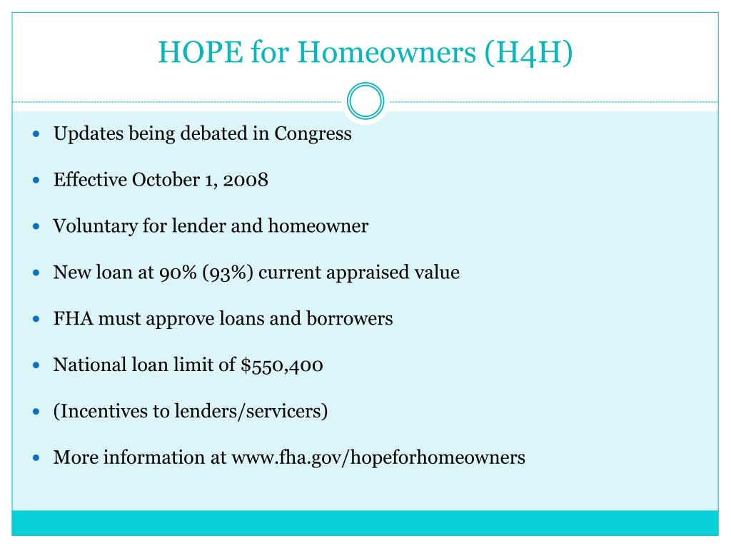 HOPE for Homeowners (H4H)