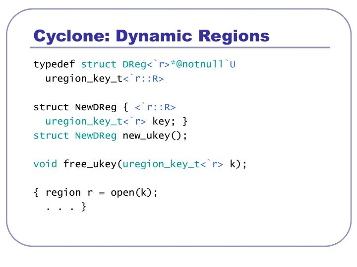 Cyclone: Dynamic Regions