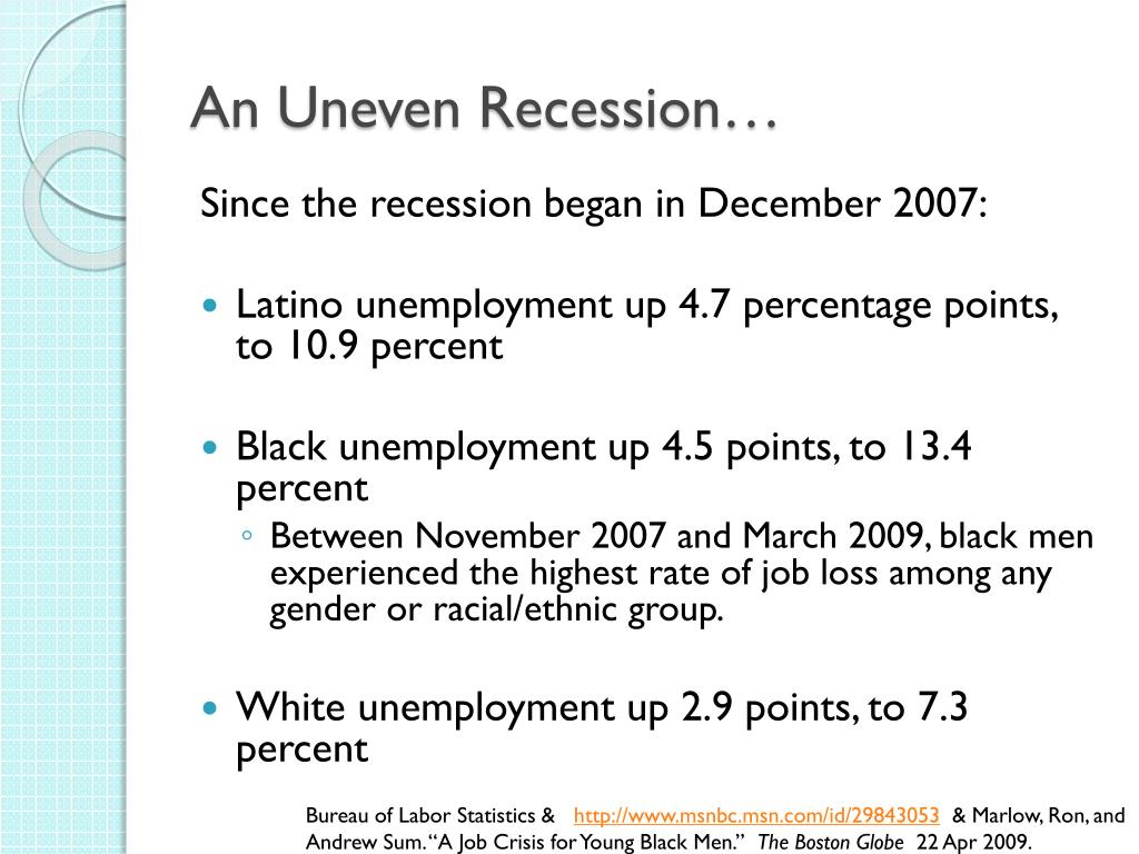 An Uneven Recession…