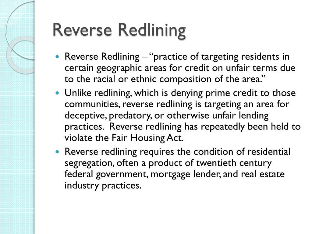 Reverse Redlining