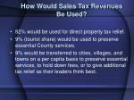 how would sales tax revenues be used