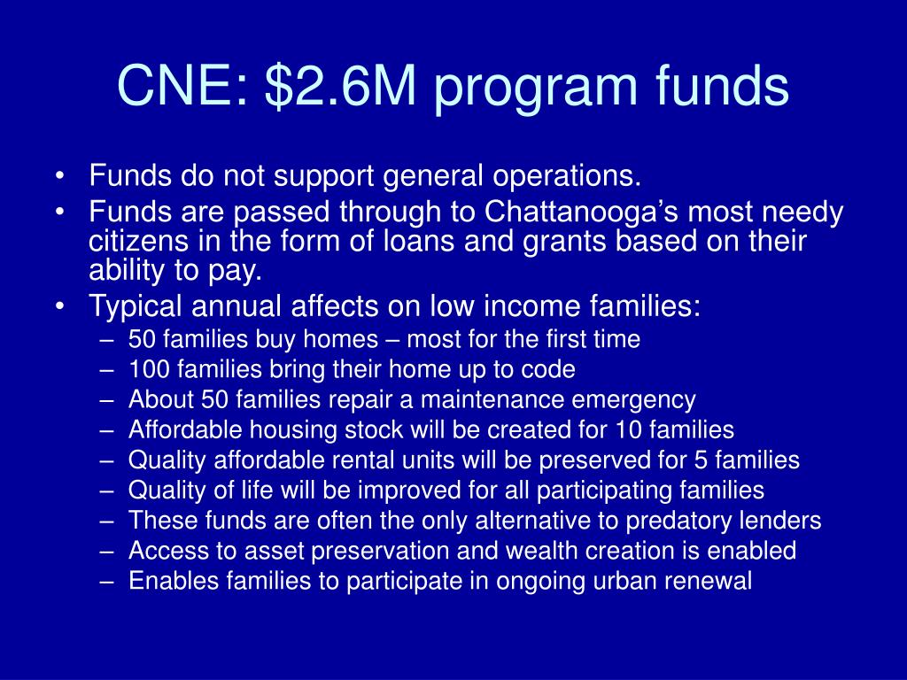 CNE: $2.6M program funds
