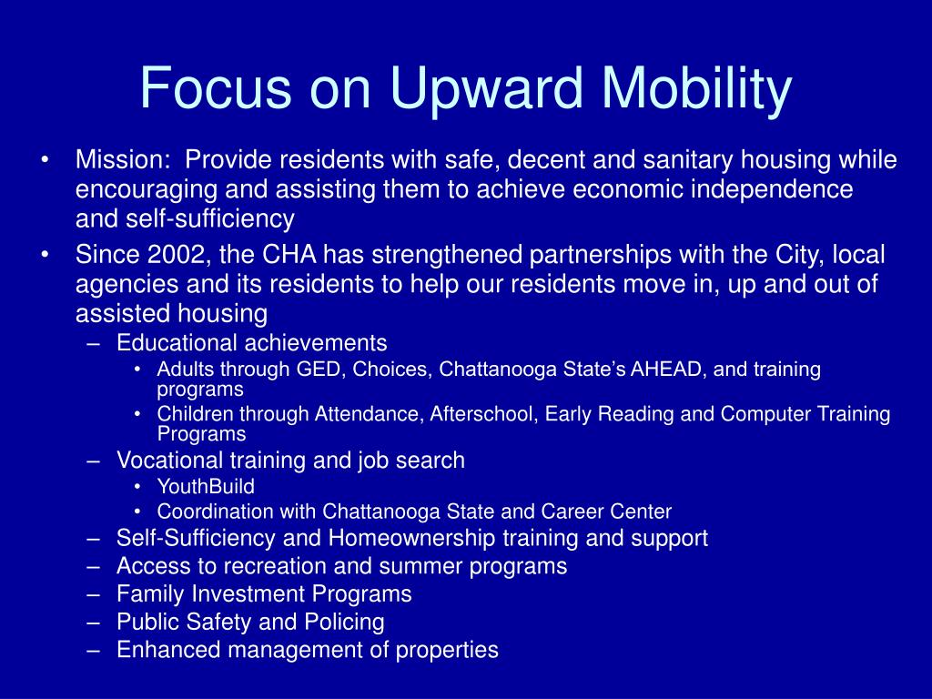 Focus on Upward Mobility