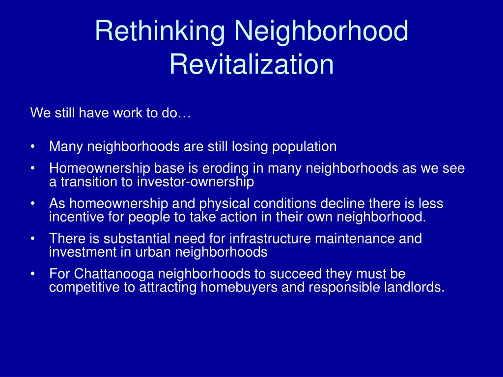 Rethinking Neighborhood Revitalization