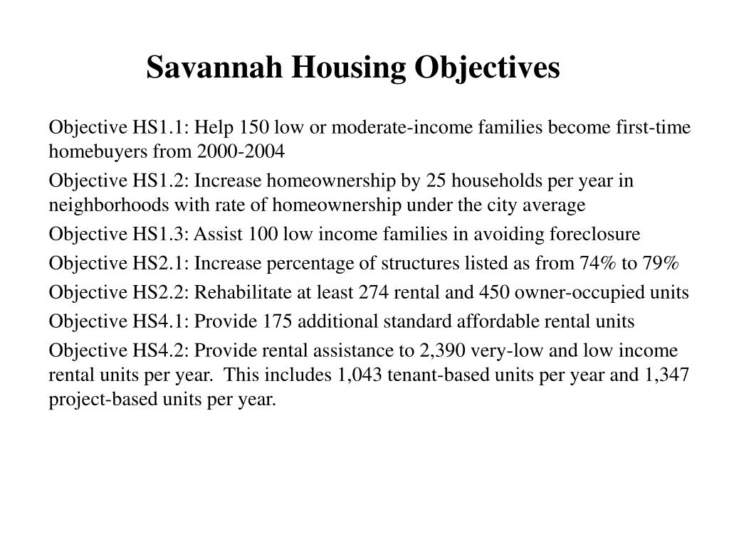 Savannah Housing Objectives