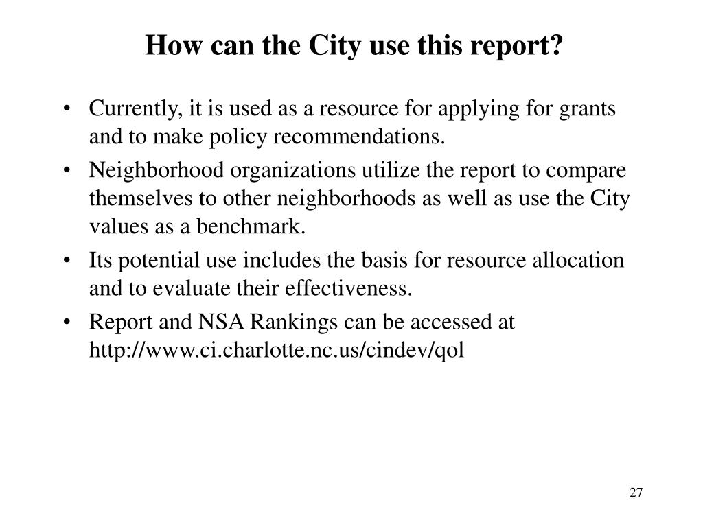 How can the City use this report?