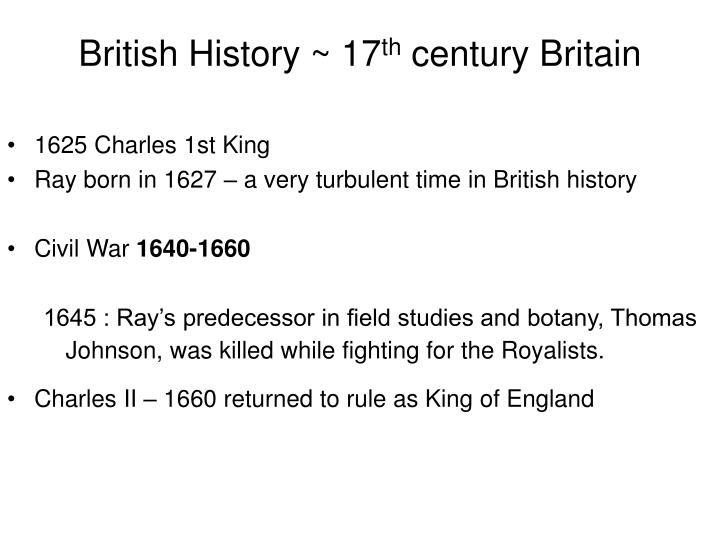 British history 17 th century britain