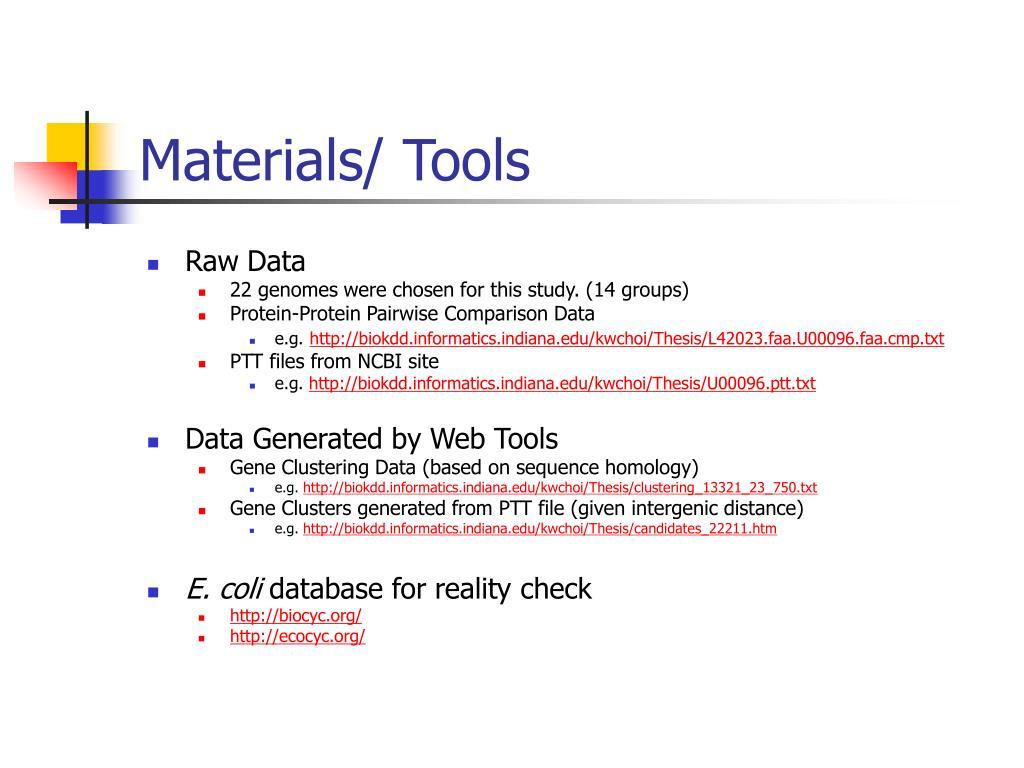 Materials/ Tools