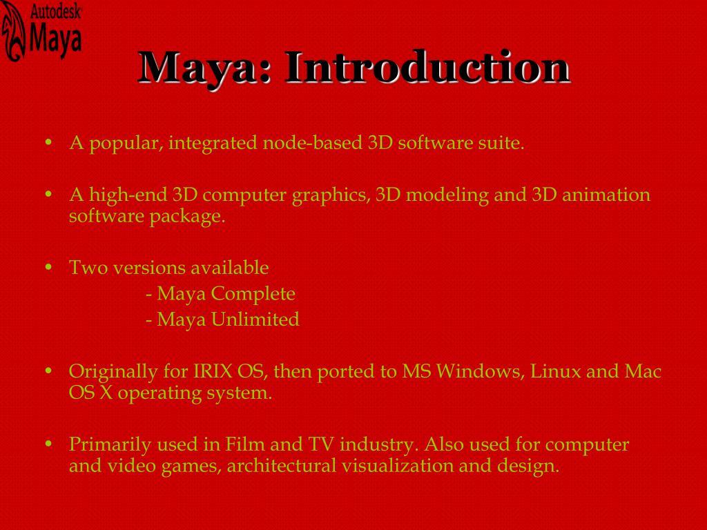Maya: Introduction