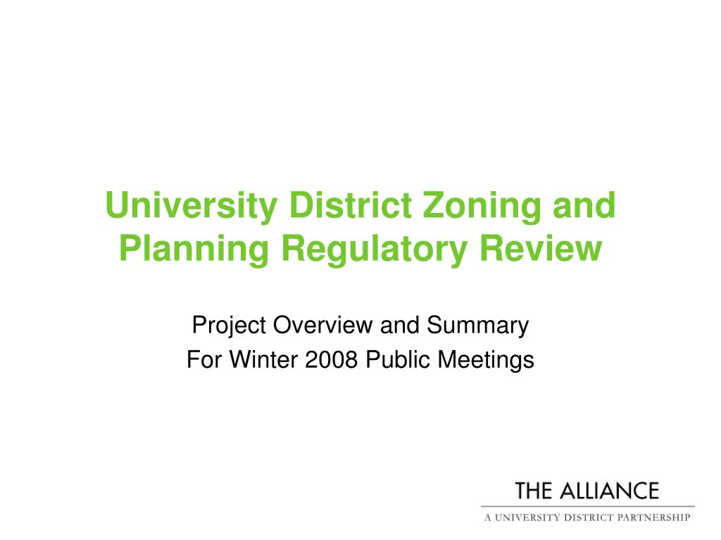 University District Zoning and Planning Regulatory Review