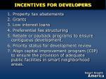 incentives for developers