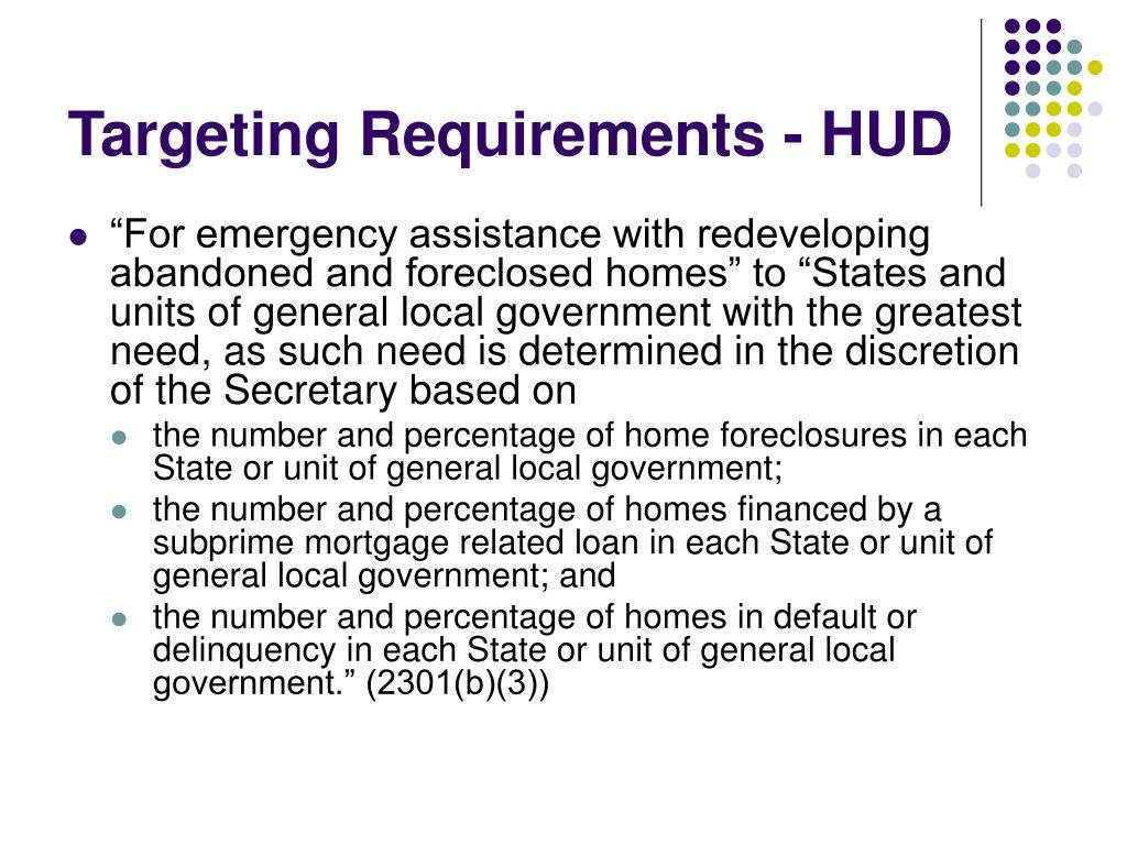 Targeting Requirements - HUD