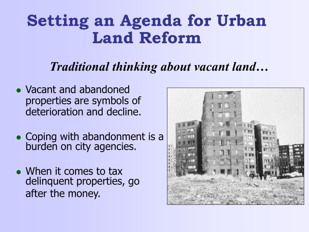 Setting an Agenda for Urban Land Reform