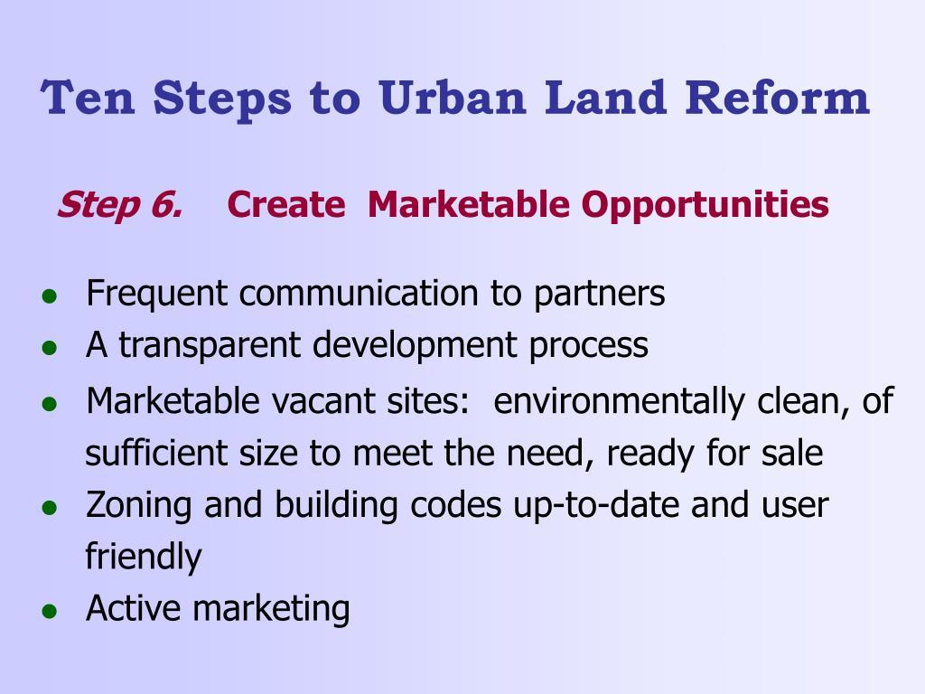 Ten Steps to Urban Land Reform