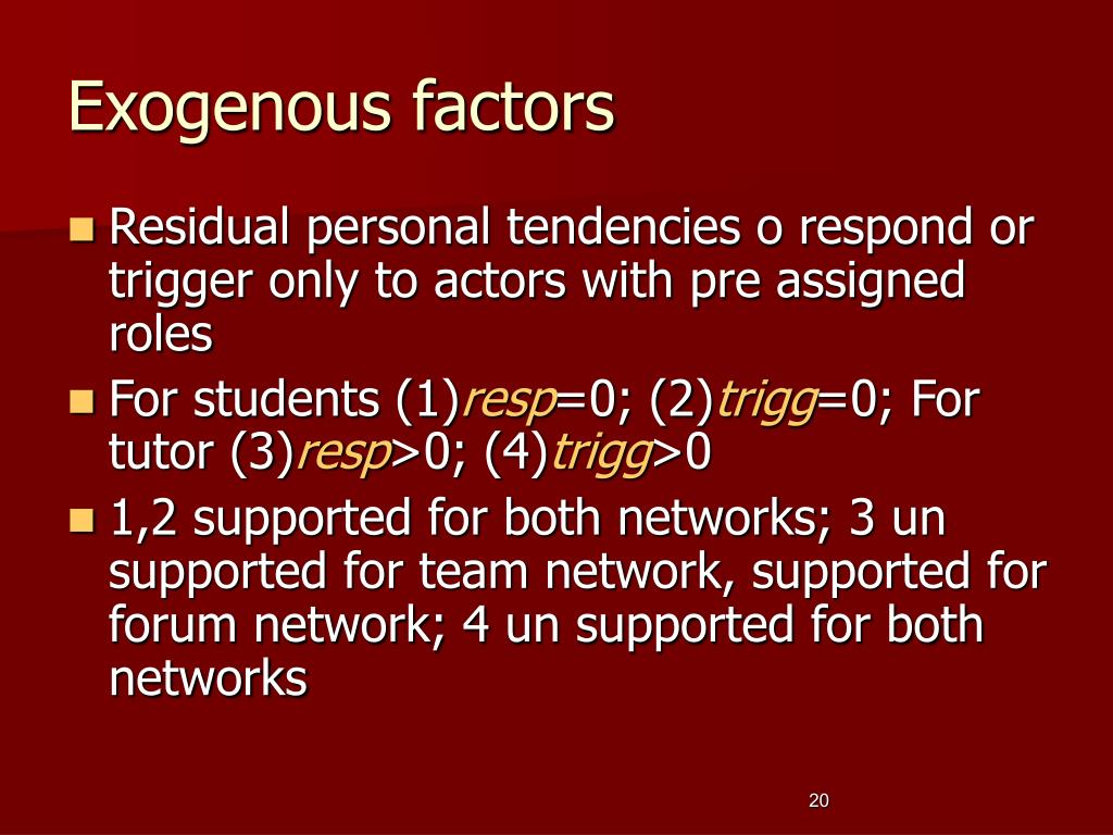 Exogenous factors