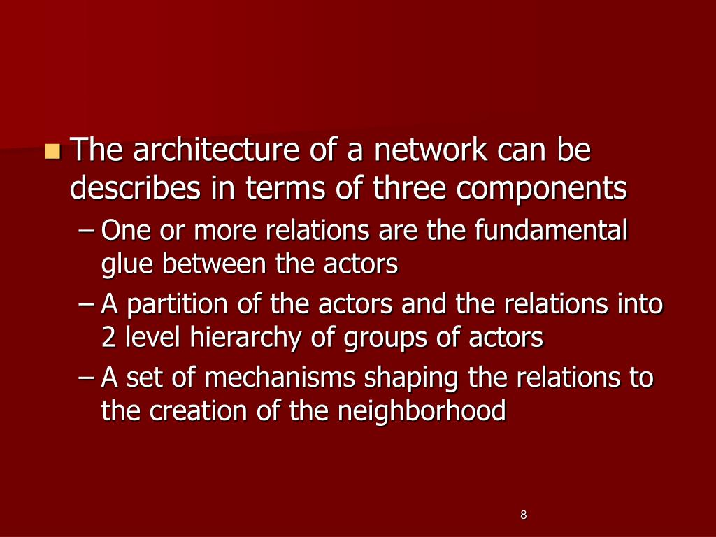 The architecture of a network can be describes in terms of three components
