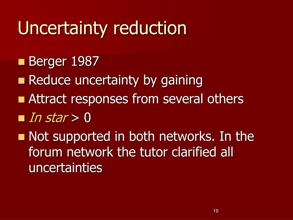 Uncertainty reduction
