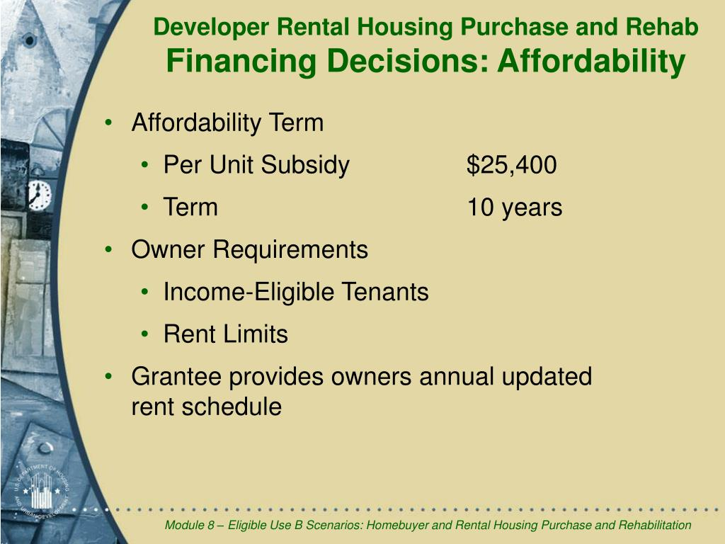 Developer Rental Housing Purchase and Rehab