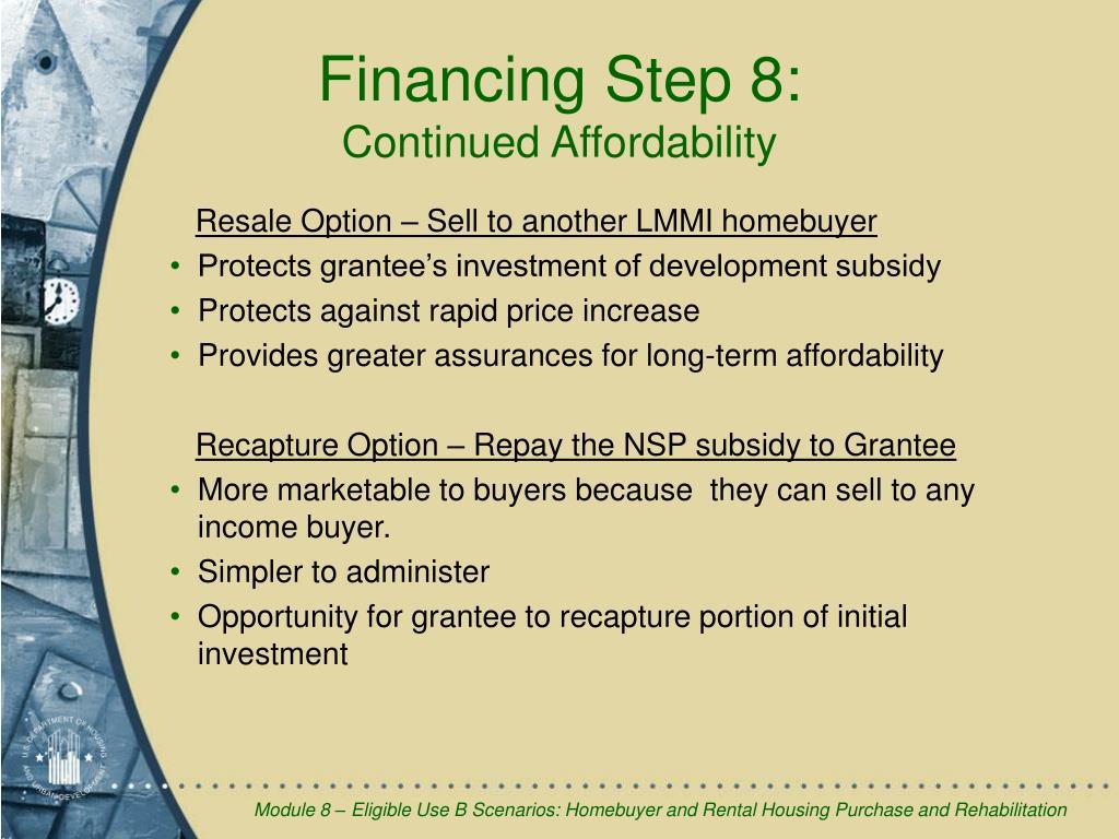 Financing Step 8: