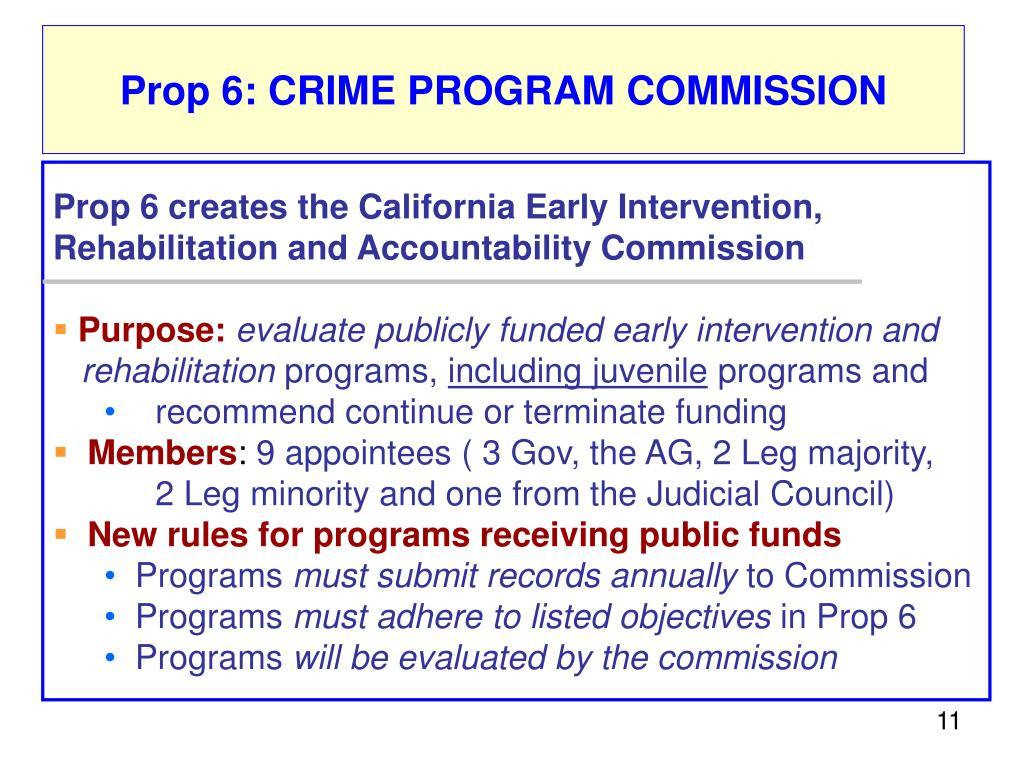 Prop 6: CRIME PROGRAM COMMISSION