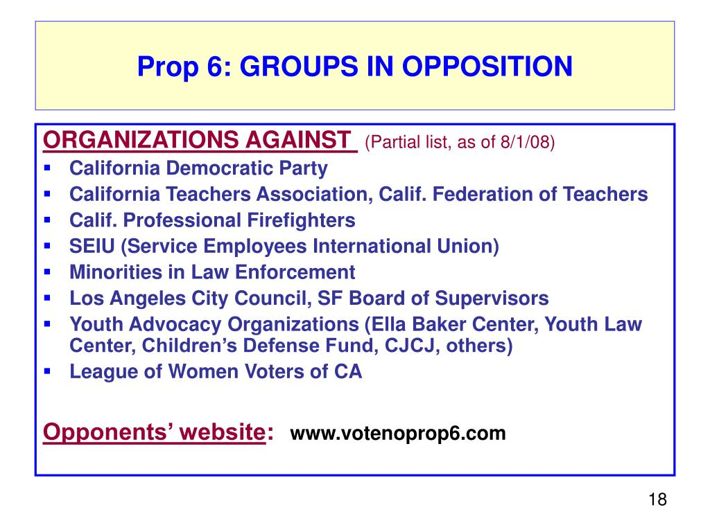 Prop 6: GROUPS IN OPPOSITION