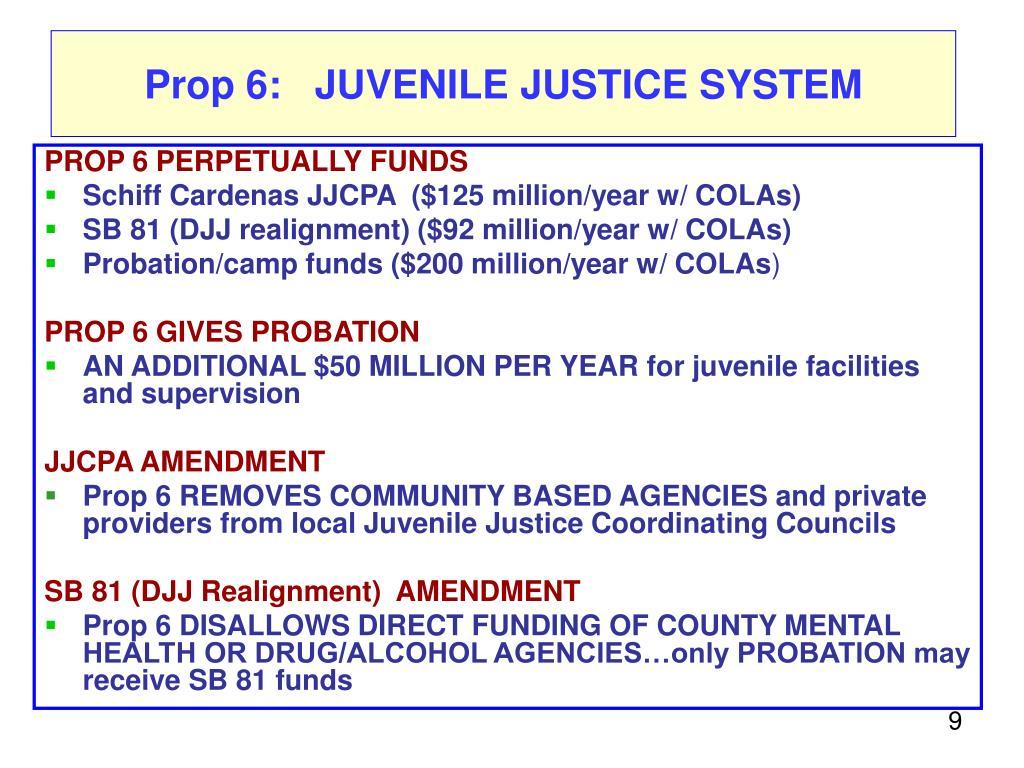 Prop 6:   JUVENILE JUSTICE SYSTEM