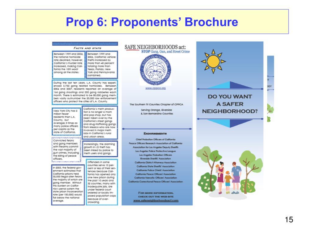 Prop 6: Proponents' Brochure