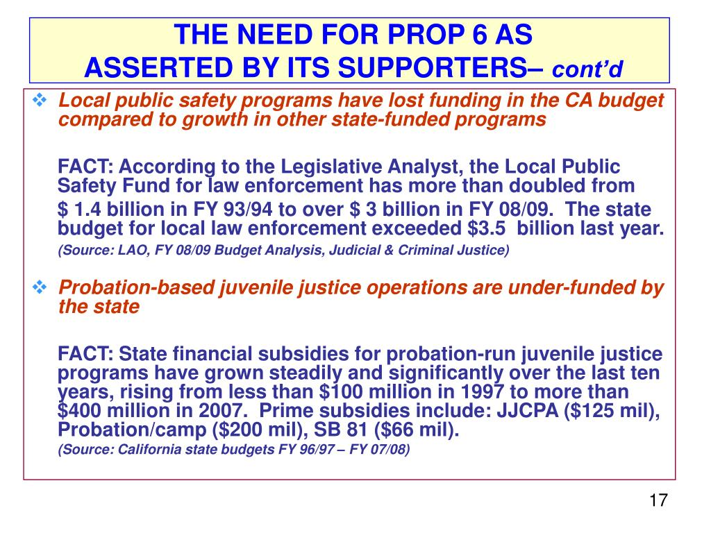 THE NEED FOR PROP 6 AS