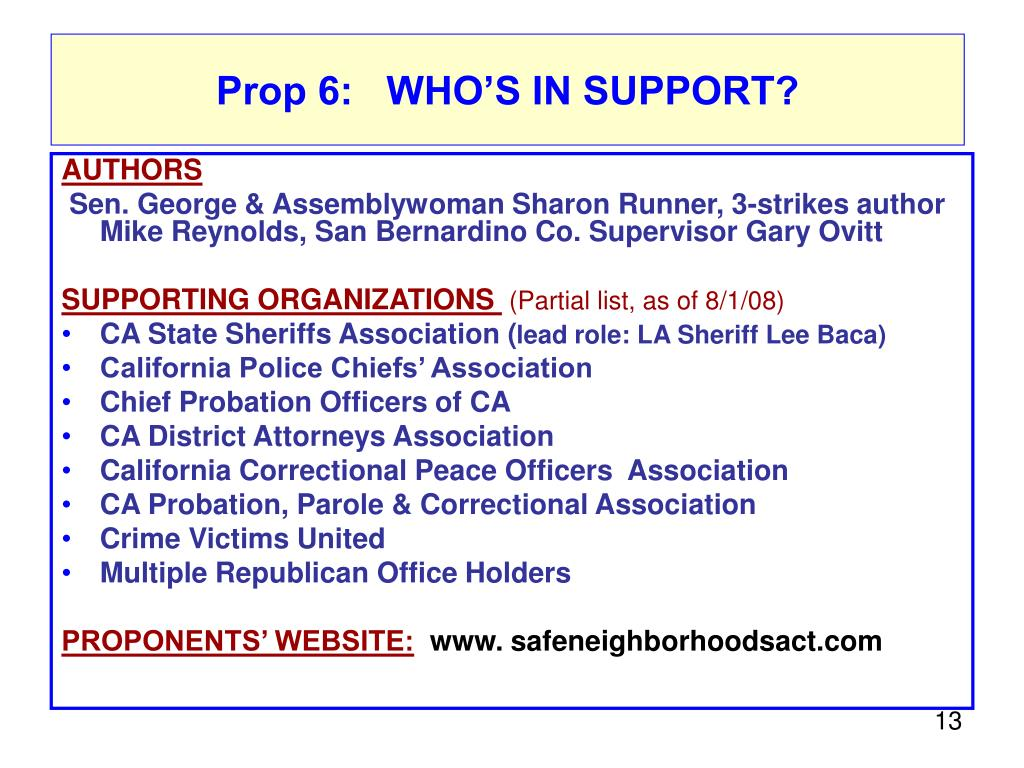 Prop 6:  Who's in support?