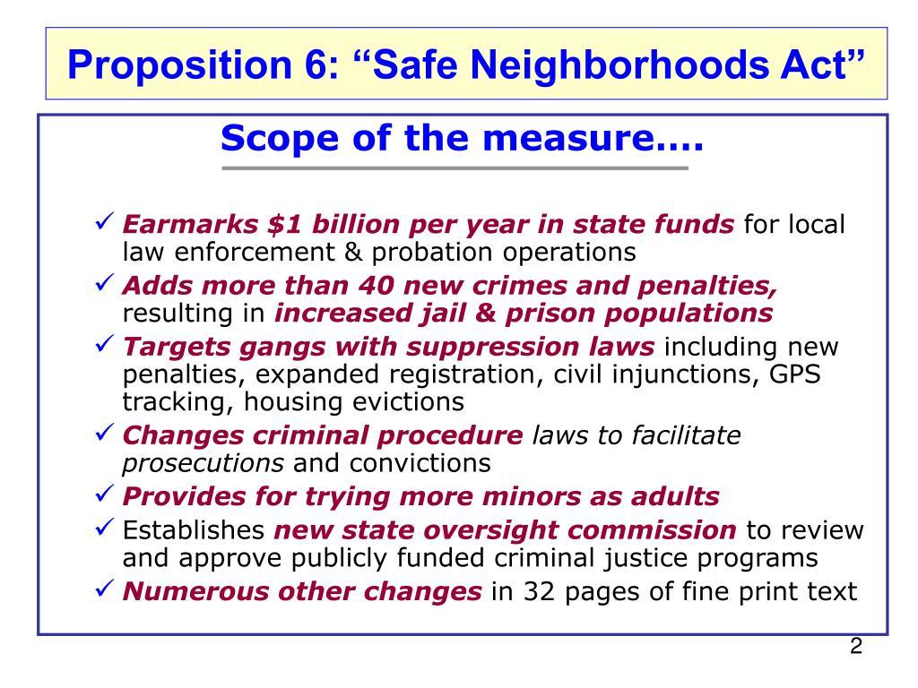 "Proposition 6: ""Safe Neighborhoods"