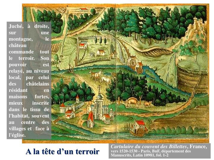 Juché, à droite, sur une montagne, le château commande tout le terroir. Son pouvoir est relayé, au niveau local, par celui des châtelains résidant en maisons fortes, mieux inscrite dans le tissu de l'habitat, souvent au centre des villages et  face à l'église.
