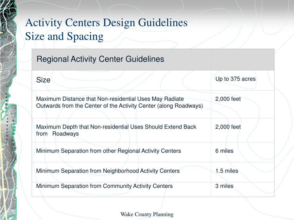 Regional Activity Center Guidelines